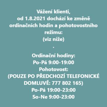 Změna ordinačních hodin a pohotovostního režimu od 1.8.2021